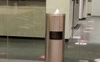 Floor Standing Wipe Dispenser with Trash & Door – Stainless Steel