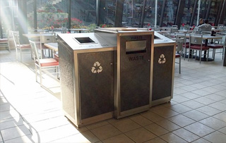 Recycling Bins for Cafeterias, Lunchroom & Breakrooms Triple Stream Recycling Bins & Containers