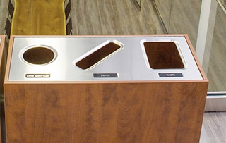 Recycling Bins for Boardrooms & Conference Rooms Triple Stream Recycling Bins & Containers