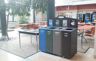 Recycling Bins for Cafeterias, Lunchroom & Breakrooms Quad Stream Recycling Bins & Containers