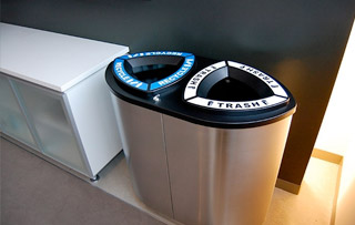 Stainless Steel Recycling Bins & Trash Cans Double Stream Recycling Bins & Containers