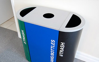 Steel Recycle Bins & Trash Cans Triple Stream Recycling Bins & Containers