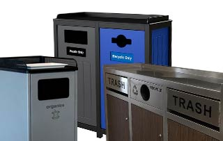 Recycling Bins for Cafeterias, Lunchroom & Breakrooms Tray Top Recycling Stations