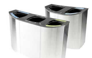 Wave Stainless Steel Recycling Bins