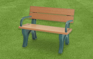 4 Foot - Backed Park Benches With Arms