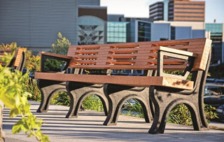 8 Foot - Backed Park Benches With Arms