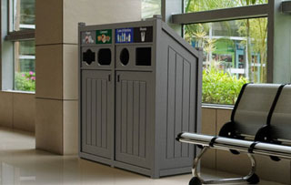 Recycling Bins & Containers for Atriums and Lobbies Quad Stream Recycling Bins & Containers