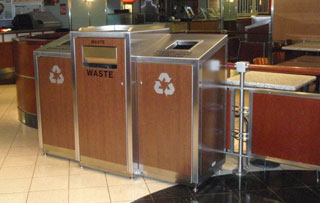 Recycling Bins & Containers for Atriums and Lobbies Triple Stream Recycling Bins & Containers