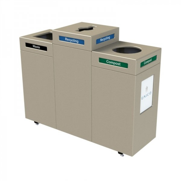 Pedestal Recycling Station Triple Stream Waste Wise