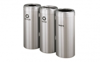 RecyclePro 15 Gallon Triple Stream | Modular Aluminum Receptacle