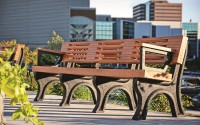 Elite 8 Recycled Plastic Park Bench with Arms | Rot-Proof Benches & Coordinated Facility Furnishings