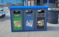 Excel Dome Top 50 Gallon Triple Waste & Recycling Station