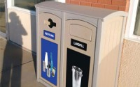 Excel Dome Top 50 Gallon Double Waste & Recycling Station
