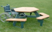 Open Hexagon Universal Access Picnic Table