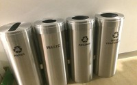 RecyclePro 15 Gallon Quad Stream | Modular Aluminum Receptacle