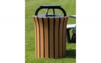Round Flare Top 33 Gallon Receptacle with Rain Cap