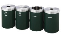 RecyclePro 41 Gallon Quad Stream | Modular Aluminum Receptacle