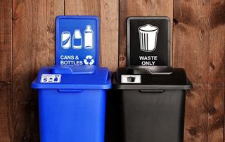 Indoor Plastic Double Stream Recycling Bins