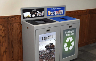 Indoor Recycled Plastic Lumber Double Stream Recycling Bins