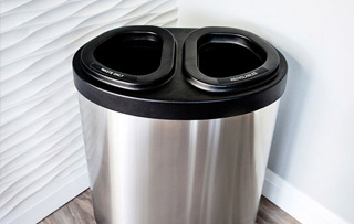 Indoor Stainless Steel Double Stream Recycling Bins
