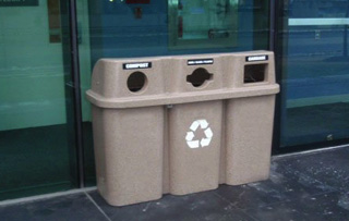 Indoor Plastic Triple Stream Recycling Stations
