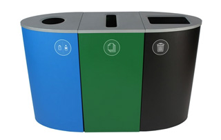 Indoor Steel Triple Stream Recycling Stations