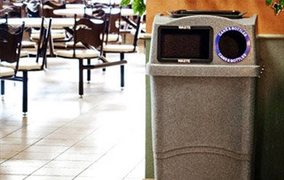 Recycling Bins for Cafeterias, Lunchroom & Breakrooms Double Stream Recycling Bins & Containers