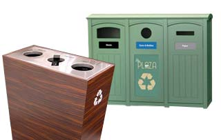3 Compartment Trash Cans and Recycle Bins