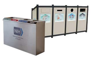 4 Compartment Trash Cans and Recycle Bins