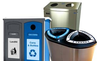 Dual Compartment Trash Cans and Recycling Bins