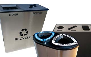 Commercial 4 Compartment Trash Cans and Recycle Bins