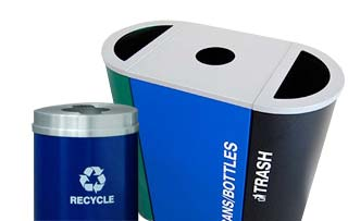 Steel Trash and Recycling Bins