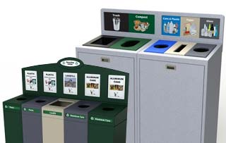 Trash Can with 5 Recycling Compartments