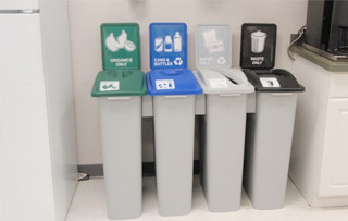 Office Waste & Recycling Bins Quad Stream Recycling Bins & Containers