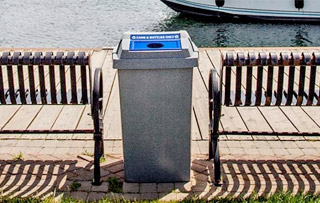 Plastic Recycle Bins & Trash Receptacles Double Stream Recycling Bins & Containers
