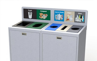 Plastic Recycle Bins & Trash Receptacles Five Stream+ Recycling Bins & Containers