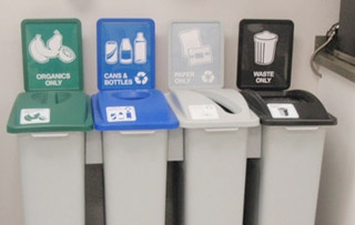 Plastic Recycle Bins & Trash Receptacles Quad Stream Recycling Bins & Containers