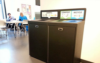 Plastic Recycle Bins & Trash Receptacles Triple Stream Recycling Bins & Containers