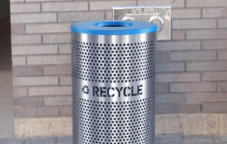 Stainless Steel Recycling Bins & Trash Cans Single Stream Recycling Bins & Containers