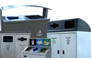 Steel Front Emptying Recycling Stations