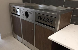 Commercial Tray Top Recycling and Trash Receptacles