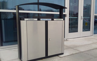 Triple Stream Waste & Recycling Stations Indoor Triple Stream Commercial Recycling Bins