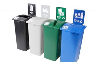Recycling Bins for Washrooms & Restrooms Quad Stream Recycling Bins & Containers