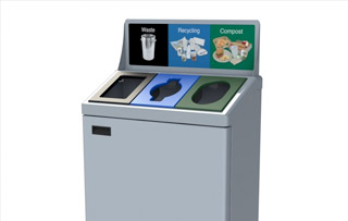 Recycling Bins for Washrooms & Restrooms Triple Stream Recycling Bins & Containers