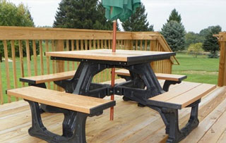 Recycled Plastic Picnic Tables Outdoor Furniture - Recycled plastic round picnic table