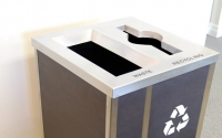 Champs Elysees Square Double Stream | Stainless Steel & Laminate Bin