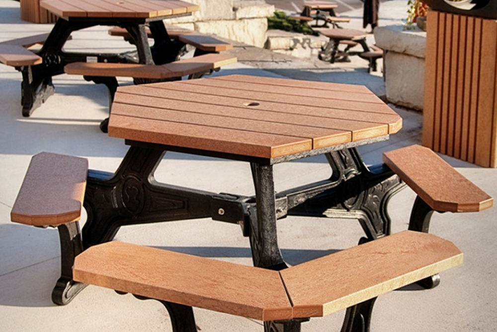 Plaza Hexagon Picnic Table Waste Wise Products - Recycled plastic octagon picnic table